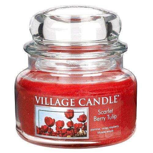 Village Candle 106311190 Scarlet Berry Tulip Pot de Verre, Rouge, 10,2 x 10,1 x 10,9 cm