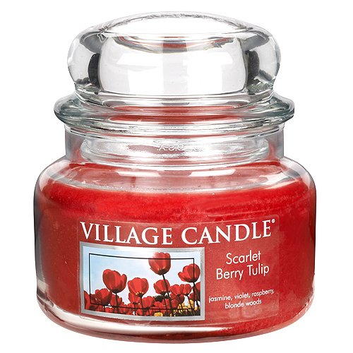 Village Candle Seidelbeere und Tulpe kleine Duftkerze im Glas, 312 g, rot, 10.2 x 10.1 cm