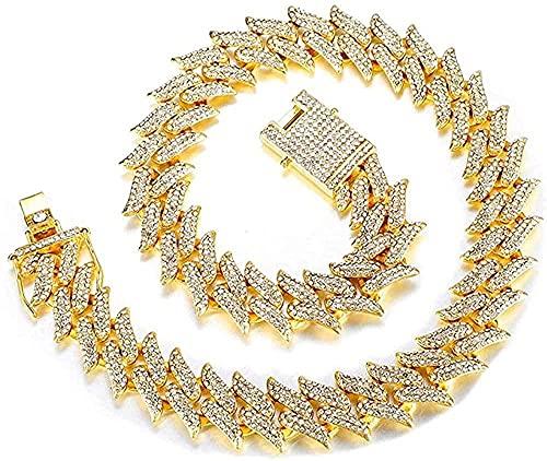 NC188 Collar de Pulsera de Cadena de 19 mm para Hombres y Mujeres, 3 Filas de aleación de Diamantes de imitación, joyería de Hip Hop de Color Dorado Helado