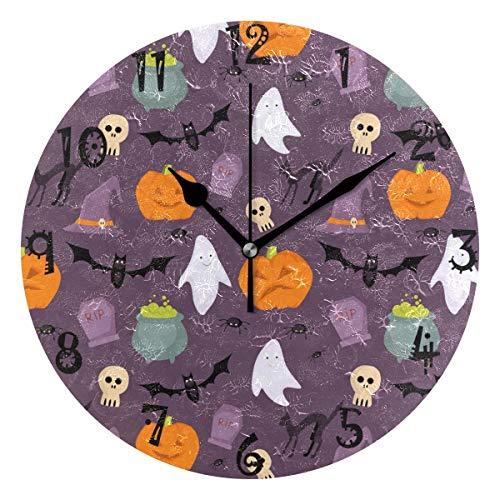 BEUSS Arte Alegría Calavera De Halloween Reloj de Pared Silencioso Decorativo Madera Vintage Relojs para Dormitorio Hogar Oficina Escuela Decoración