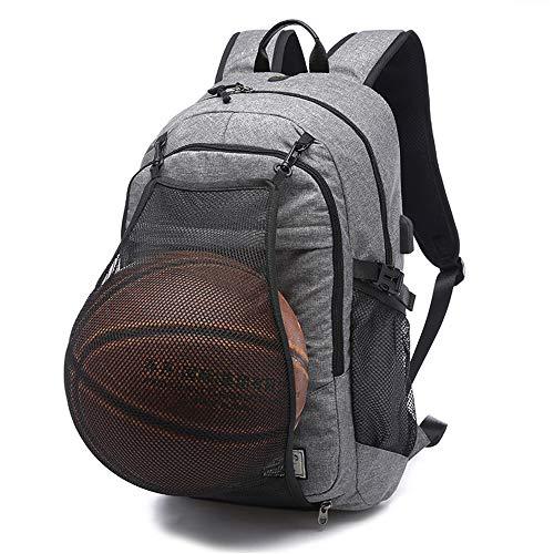 HBRE Sac à Dos Voyage,Sac à Dos Grande Taille en Toile,avec Pliable Basketball Football Net,Sac à Dos De Voyage RéSistant à l'eau,Adulte Fashion DéContracté Bag College Pack,Gray