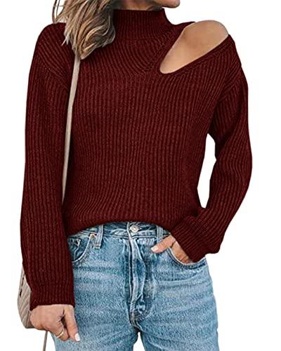 Maxwinee Jersey de punto para mujer con hombros descubiertos, sexy, manga de farolillo, para invierno, monocolor, rojo, M