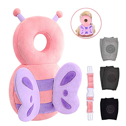 Baby Head Protector & Baby Knee Pads for Crawling,Toddlers Head Safety Pad Cushion Adjustable Backpack,Baby Back Protection for Walking & Crawling, for Age 5-24months, Butterfly