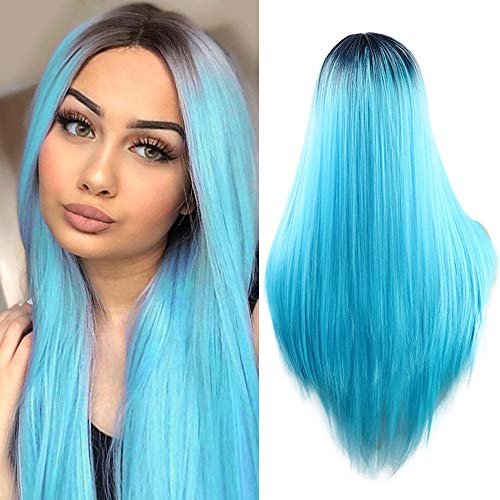 Fani Wigs Ombre Blue Wig Halloween Costume Wigs Long Straight Middle Part Dark Roots Synthetic Cosplay Wigs for Women