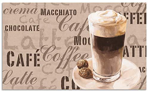 Artland Spritzschutz Küche aus Alu für Herd Spüle 100x60 cm Küchenrückwand mit Motiv Spruch Getränke Kaffee Creme Kaffee Latte Macchiato S7LV