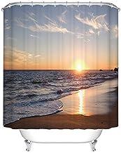 Goodbath Beach Shower Curtains, Ocean Beach Sunset Waterproof Fabric Bathroom Bath Curtains 72 x 72 Inch, Brown Blue Orange