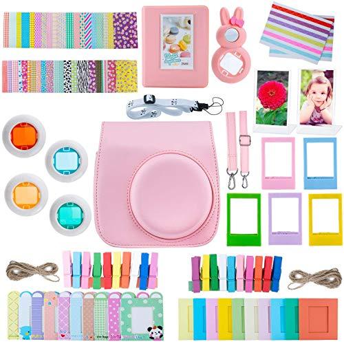 ZWOOS Instax Mini 9 Kamera Zubehör Bundle - [Mini 9 Tasche+hängenden Rahmen+Table Rahmen+Pocket Album+Selfie Objektiv+Film Aufkleber] für Fujifilm Instax Mini 9/ Mini 8/ Mini 8 + Film Kamera(Rose)