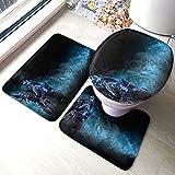 huancheng Recon Movie - Juego de almohadillas antideslizantes para baño de 3 piezas, alfombra antideslizante, alfombrilla de contorno, juego de tapa de inodoro