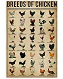 Eeypy Breeds of Chickens Poster Wall Art Home Decor Vintage Metal Tin Signs Coffee Shop Plate Iron Painting Warn Retro Novelty Funny Humorous Bar Pub Restaurant Kitchen Tin Sign Wall 8x12 Inch
