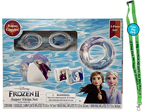 Frozen 2 Pool Inflatables for Kids 5 Piece Set with Free Lanyard, Kids Floaties for Pool, Pool Accessories for Kids, Inflatable Pool Toys for Kids, Floaties for Toddlers, Arm Floaties