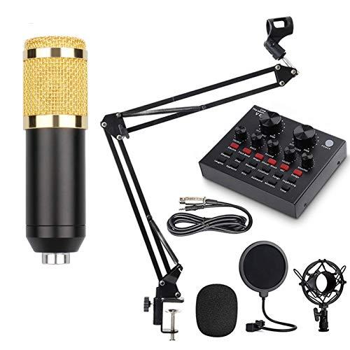 ZHJIUXING SF Microfono de Condensador Kit, BM-800 Micro Set, microfonos pc microfono pc Streaming,Micrófono Escritorio con Pie&Brazo para PC,Grabar,Gaming,Podcast, Black
