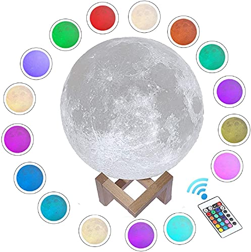 Gahaya 16 Colors Moon Lamp, Remote & Touch Control, 3D Printed Luna Light, PLA Material, USB Recharge, Romantic Gift for Love Ones, Diameter 5.9  15cm