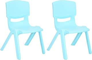 JOON Stackable Plastic Kids Learning Chairs, 20.5x12.75X11 Inches, The Perfect Chair for Playrooms, Schools, Daycares and Home, Baby Blue, (2-Pack)