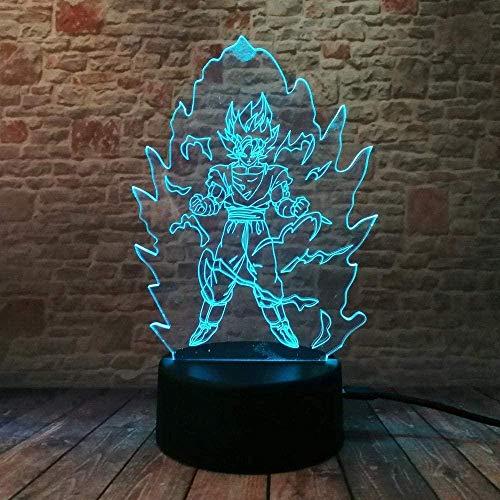 3D ilusión lámpara LED noche luz decoración dragón bola Z bebé sueño niños regalo cómics kit lámpara de mesa Super Saiyan dios goku