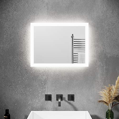 SONNI Badspiegel mit Beleuchtung 60×50 cm Wandschalter Badezimmerspiegel LED Badspiegel Wandspiegel Badspiegel Lichtspiegel IP44