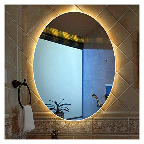 AWCPP Espejo Iluminado Montado en la Pared, Espejo de Baño con Retroiluminación Led, Espejo de Plata de 5 Mm,Luz Calida,60 * 80Cm