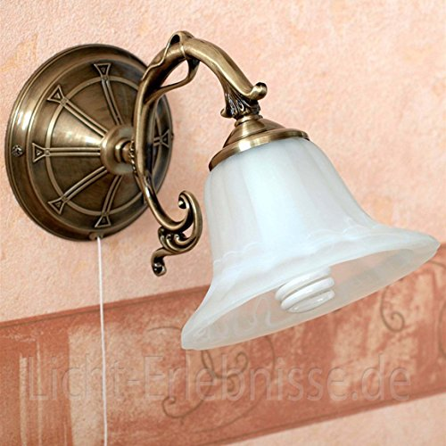 Lámpara de pared de metal en bronce alabastro bronce, interruptor de cordón, lámpara de lectura, dormitorio o salón