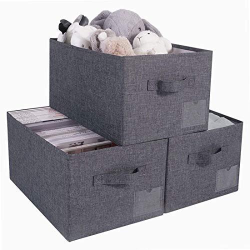 AMX Juego de 3 Cajas de Almacenamiento Abiertas Grandes Lavables, Cubos Plegables de Organizador de Armario para organizar el hogar de Guarder¨ªa, Negro Gris