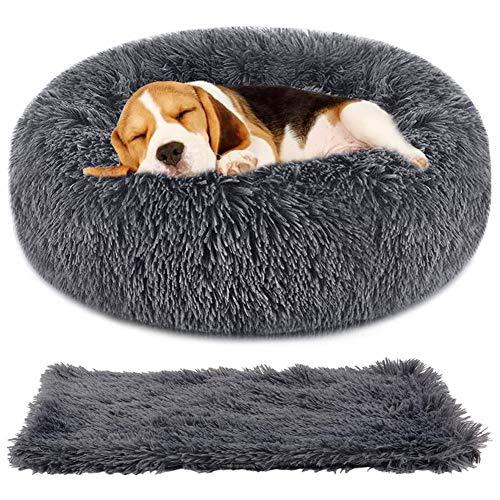Wuudi Bett für Katze,Hundekissen Flauschig Katzenbett Set mit Decke,Runden Katzenbett Plüsch hundebett 2 Stücke Weich Warm Haustierbett + Haustierdecke für Katzen und Kleine (Dunkelgrau)