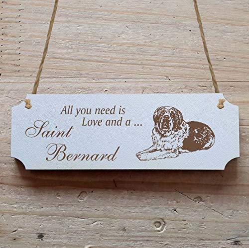 Schild « BERNHARDINER » 15 x 5 cm - Dekoschild Holzschild Türschild - Hund Haustier (15 x 5 cm)