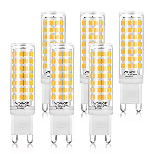 Ampoule G9 Led Dimmable Wowatt 6W 570lm, Lumière Blanche Chaude, 2800 K Équivalent à 50W d Halogène Ecellent Ra 83 Angle De Faisceau De 360 ° 230V (Pack De 6)