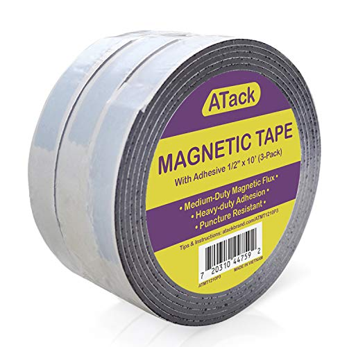 ATack Magnetic Tape Strip Roll, 1/2-Inch x 10-Foot, Pack of 3, Self-Adhesive, Peel and Stick on Double-Sided Magnet Strips for Fridge, Crafts and DIY Projects