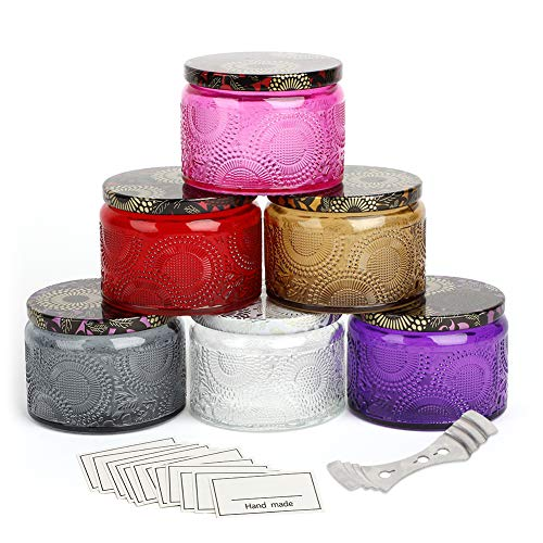Embossed Glass Candle Container with Lid, 6 Pack Round Glass Jars, 4.2 oz, 6 Colors