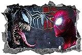 WARMBERL Sticker mural 3D Spider Man vs Venom pour chambre d'enfant