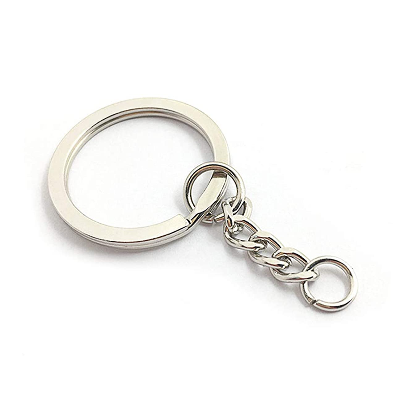 LAKIND 50Pcs Split Key Chain Rings with Chain,Metal Split Ring Key Chain Jump Rings for DIY Arts Crafts(50-Pack)