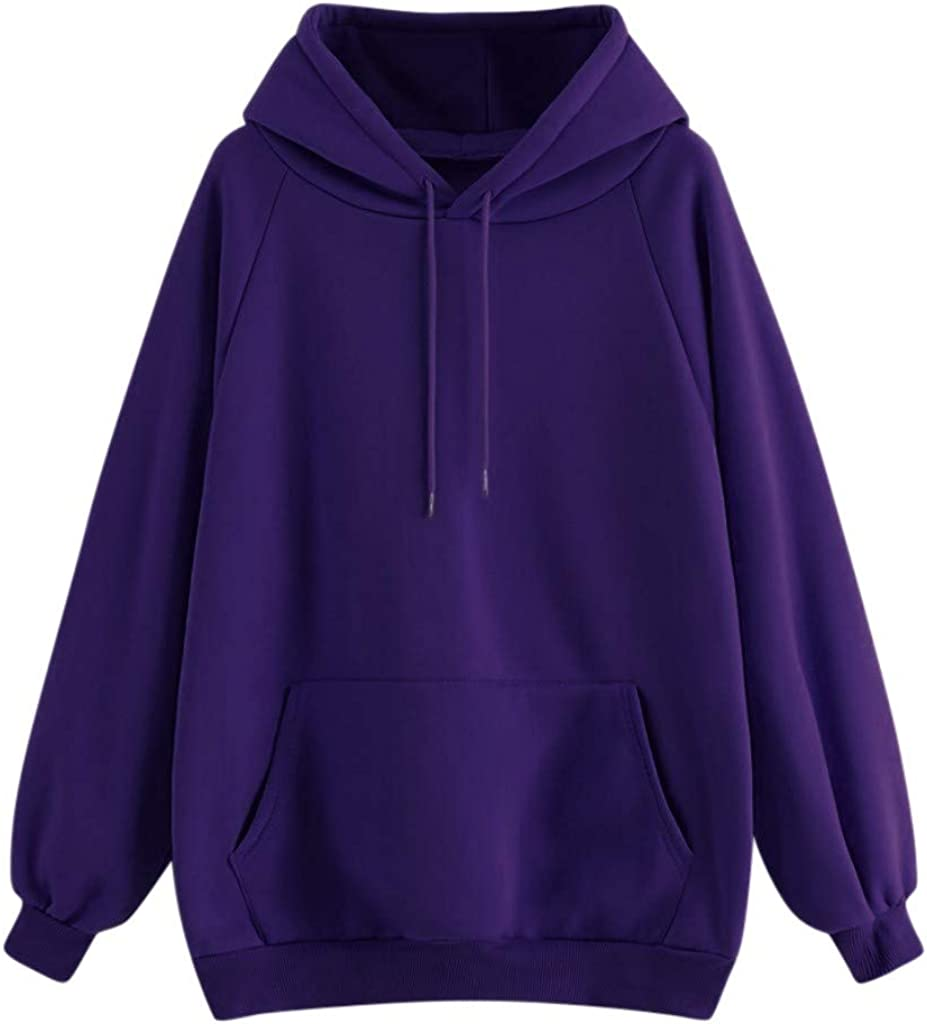 Hoodies for Women Long Sleeve Hoodie Solid Sweatshirt Hooded Pullover Top Blouse Shirt With Front Pocket for Teen Girls