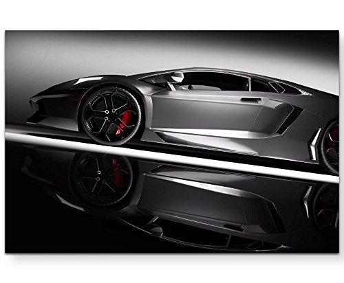 Paul Sinus Art Leinwandbilder | Bilder Leinwand 120x80cm Grauer Sportwagen