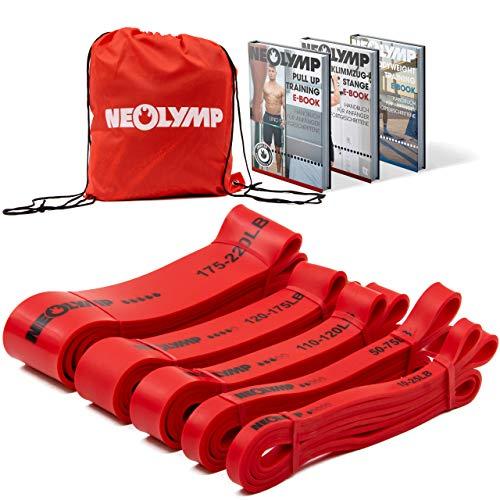 NEOLYMP Premium Pull Up Fitness Bands   Parfait pour la musculation et le crossfit Freeletics Calisthenics   Fitness Band Pull Up Bands Bandes de résistance ( Lot de 5 rouges )