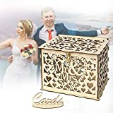 Rustic Wood Wedding Card Box DIY Gift Card Boxes Decorative Wooden Wedding Money Box Holder For Reception Anniversary Birthday Party Baby Shower Gift Envelopes With Slot Lock Key Card Signs