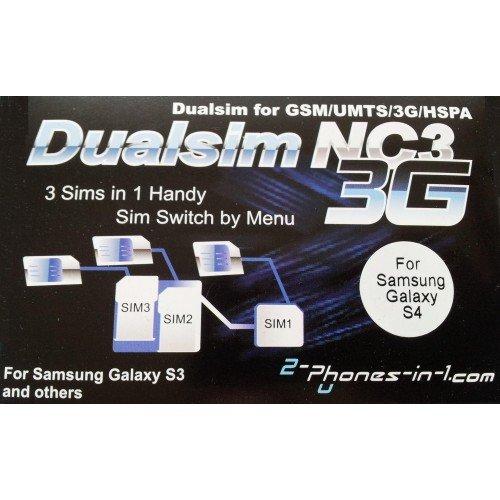 2-phones-in-1® 2in1-nc3s4 NC3 Dual/Triple SIM Adapter für Samsung Galaxy S4