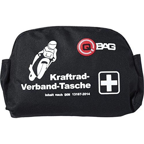 QBag Erste-Hilfe-Verbandstasche nach DIN 13167-2014, Pflicht in Österreich, Italien, Spanien, Portugal und Tschechien, speziell für Motorradfahrer, Schwarz