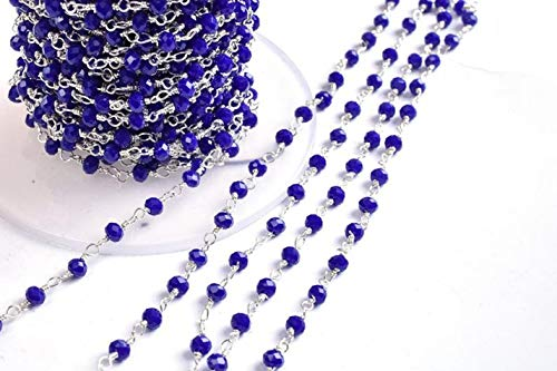 Shree_Narayani Cadena de rosario con cuentas facetadas de lapislázuli Hydro Rondelle de 10 pies, alambre chapado en plata, joyería de 3 a 3,5 mm, cadena de rosario con cuentas de piedra natal