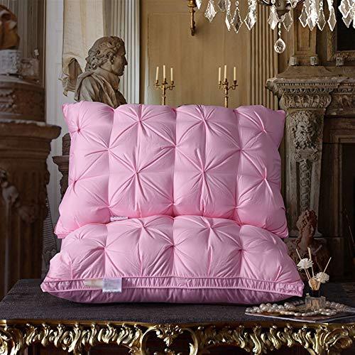 Almohada de cama para el cuello, cómoda y suave, almohada para dormir, almohada estándar de hotel, cinco colores 3,12 (color: rosa, tamaño: 48 x 74 cm)