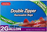 Neaties Heavy Duty 2 Gallon Double Zip Lock Bags for Kitchen or Storage, 13'x16', 100pcs