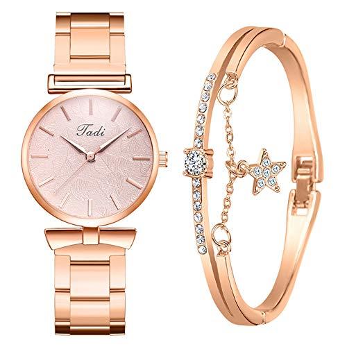 Yue668 Mode Damen Quarz Uhr mit Edelstahl/PU Leder Armband, Lässige Armbanduhr Mit Elegante Armbänder, Frauenuhren Damenuhr Geschenk für Frauen Damen (L1)