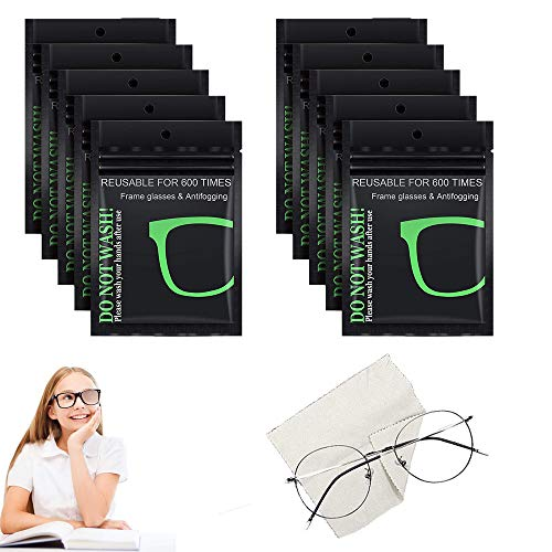 Antibeschlag-Tuch für Brillen, Wiederverwendbares Brillentuch Reinigungstuch, Anti Fog Cloth for Glasses, Displays, Bildschirme, Nano Antibeschlag Tücher, 10 Stück