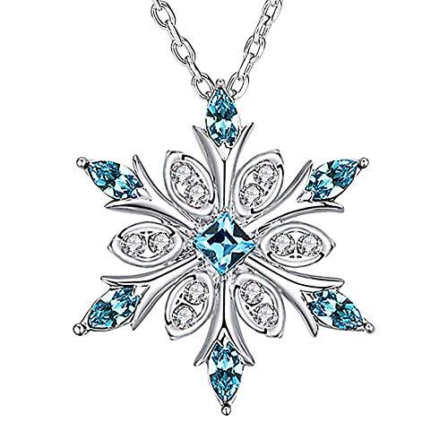 Collana con ciondolo a forma di fiocco di neve, in argento Sterling, ipoallergenico, con cristalli blu e bianco, idea regalo per donne e ragazze