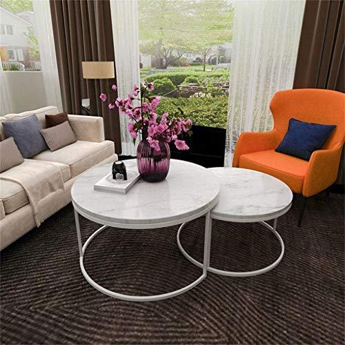 NMDCDH Mesa Auxiliar de mármol de Moda para sofá Mesa de Centro Moderna Redonda pequeña con Patas de Metal Blanco para Sala de Estar, Juego de 2