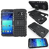 Funda Samsung Galaxy S6, Fetrim Soporte Proteccion Cáscara Cases Delgada de Golpes Doble Capa de TPU plastico Anti de Protectora para Samsung Galaxy S6 - Negro