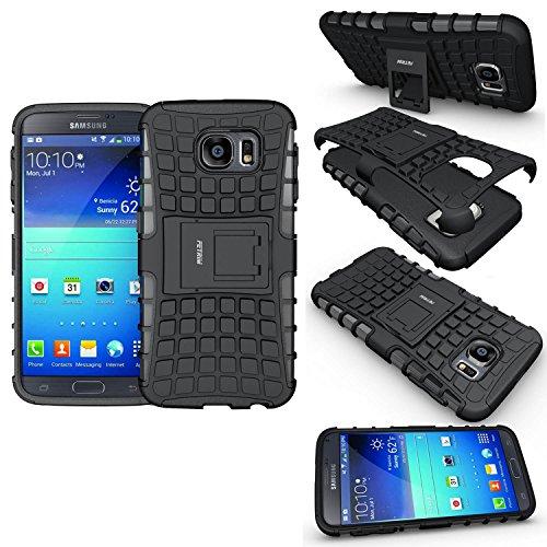 Coque Samsung Galaxy S6, Coque Galaxy S6, Fetrim Armure Support TPU Silicone + Plastique Protection Étui,Anti Chocs Bumper Hybride Protection Housse Cover pour Samsung Galaxy S6 - Noir