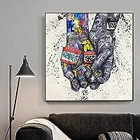 CHBOEN 装飾画 恋人の手落書きアートポスターとキャンバスの絵画のプリントストリートウォールアートリビングルームのモダンな家の装飾の写真 50x70 cm(20x28インチ)