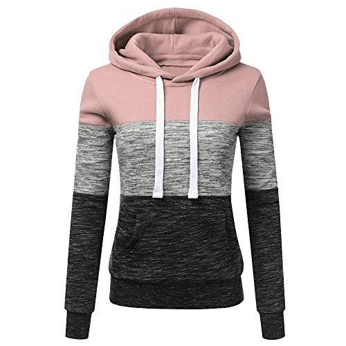 Why Choose Women's Hooded Sweatshirt Color Block Sweatshirt Tops Blouse Long Sleeve Casual Athletic ...