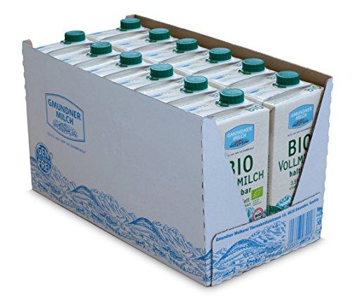 GMUNDNER MILCH BIO-Haltbarvollmilch mit 3,5 % Fett | inkl. Salzkammergut-Kochbuch | 3 Monate ungekühlt haltbar, 12 x 1 L | Lebensmittel aus Österreich