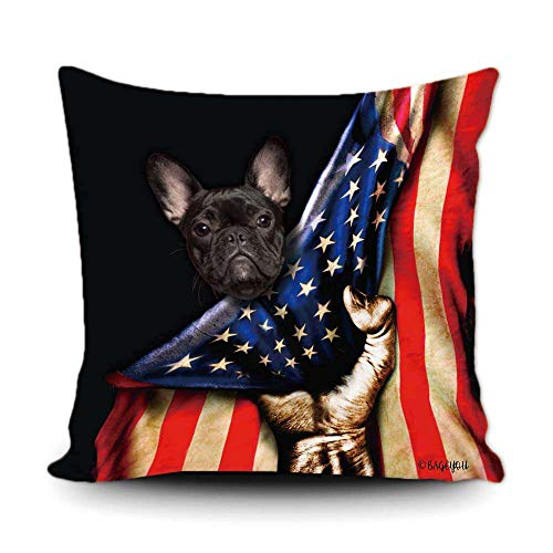 BAGEYOU French Bulldog Puppy Lover American Flag Throw Pillow Cover 4th of July Patriotic Decor Home Couch Canvas Pet Pillow Case Cushion Cover 18x18 Inch