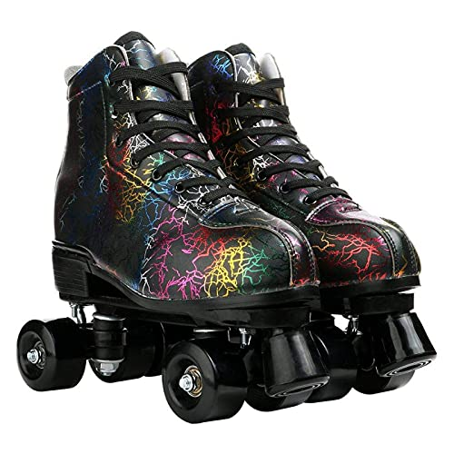 litulituhallo Womens Roller Skates Graffiti High Top Double Row Adjustable with Flashing Black Size 39
