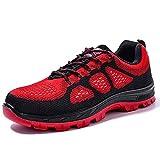 FREEUP Calzado de Seguridad Mujer Zapatillas de Seguridad para Hombre Ligeras,Red,36EU